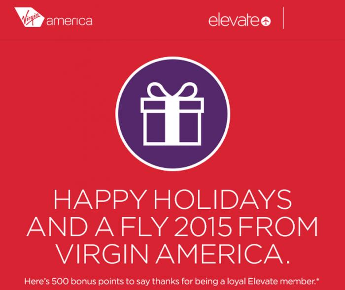 Virgin America Elevate 500 Free Points December 2014