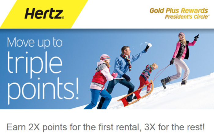 Hertz Gold Plus Rewards Double & Triple Bonus Points Offer Winter 2015
