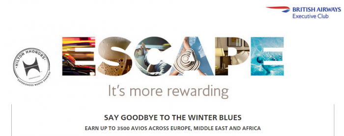 Hilton HHonors British Airways Executive Club 3500 Bonus Miles January 15 April 30 2015