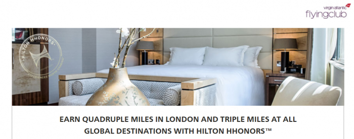 Hilton HHonors Virgin Atlantic Up To Quadruple Miles Offer