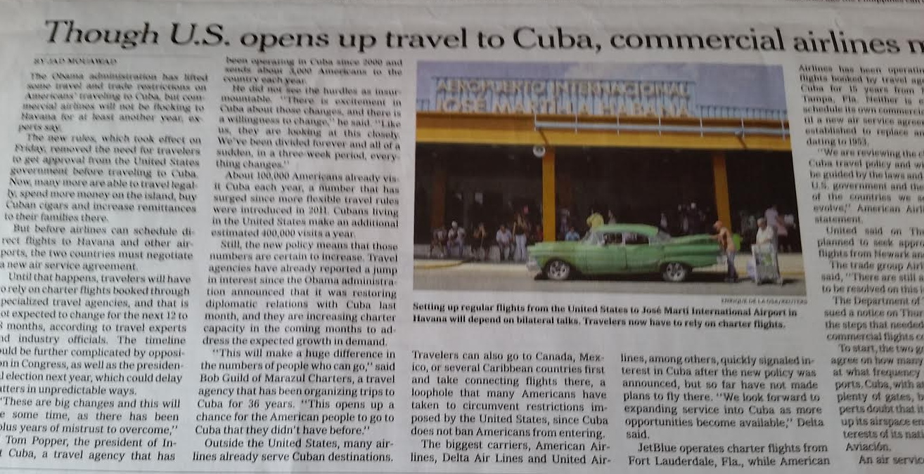 New York Times Quot Travel To Cuba Eases But Airlines Will Miss Initial Rush Quot Loyaltylobby