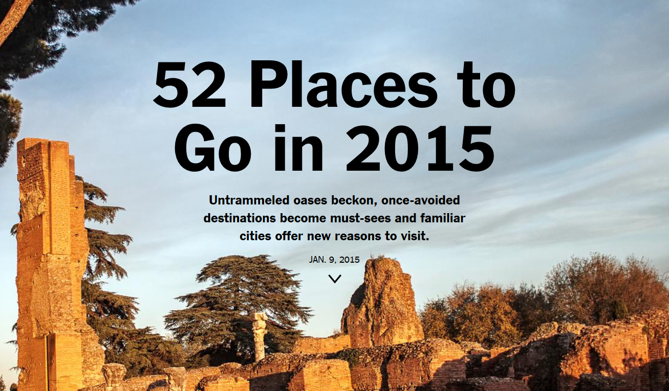 New york times 52 places to go in 2015 loyaltylobby for Places to move to