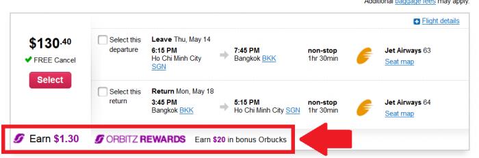 Orbitz Rewards $20 Orbucks Flight Bookings U