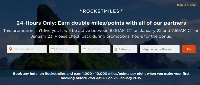Rocketmiles Double Miles Offer New Customers January 22 - 23 2015