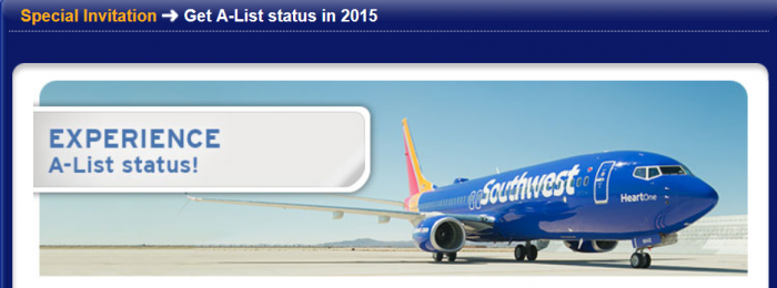 Southwest Airlines Rapid Rewards A-List Status Fast Track Targeted
