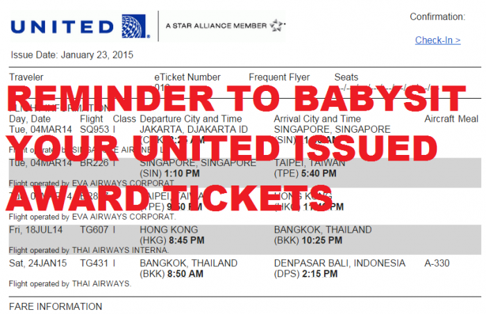 United Award Ticket