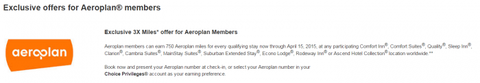 Choice Priviliges Air Canada Aeroplan Triple Miles February 15 April 15 2015