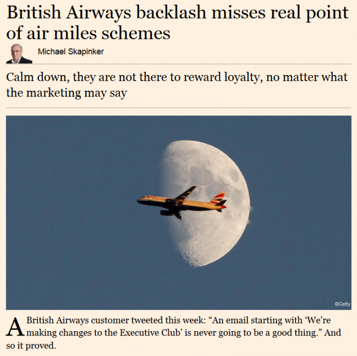 Financial Times British Airways backlash misses real point of air miles schemes