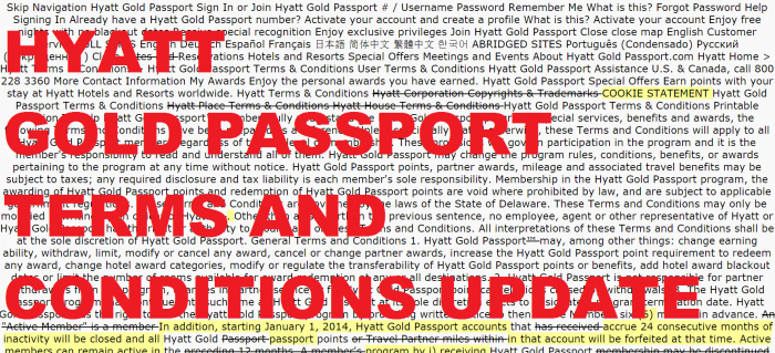 Hyatt Gold Passport Group Terms and Conditions