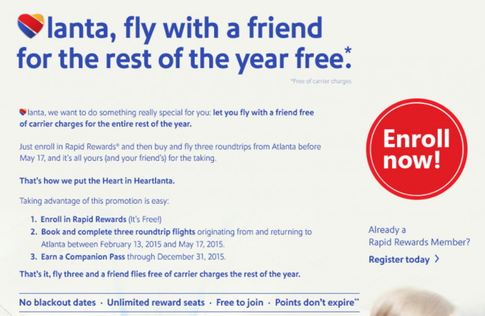 Southwest Airlines Atlanta Companion Pass Offer
