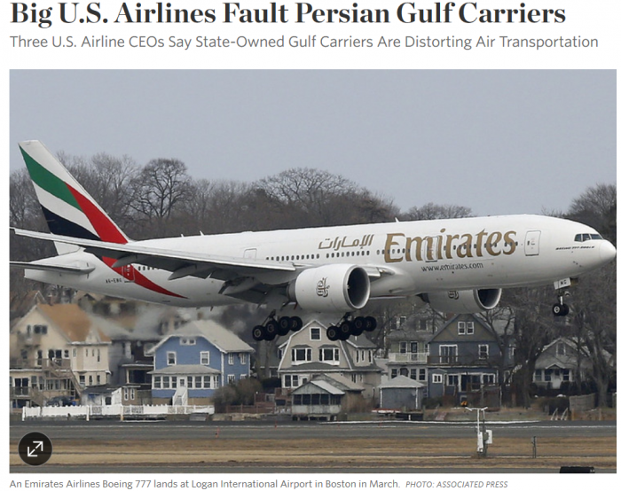 WSJ Big U.S. Airlines Fault Persian Gulf Carriers