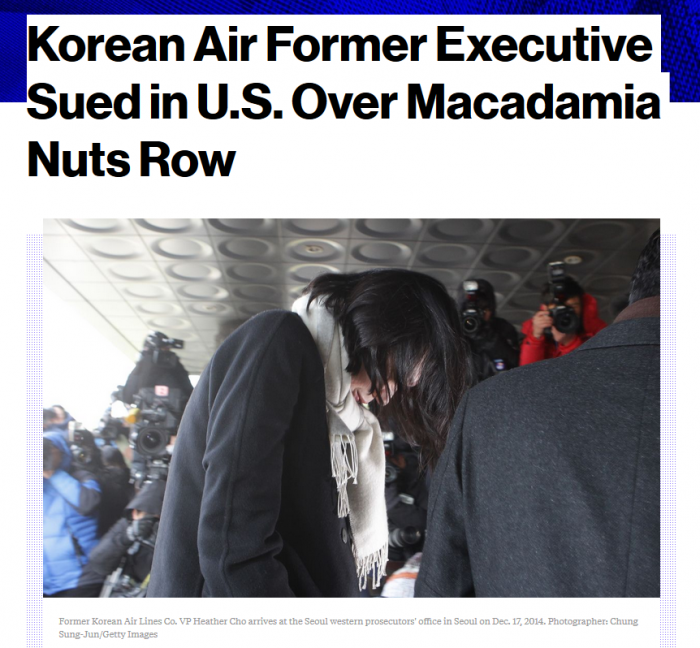 Bloomberg Korean Air Former Executive Sued in U.S. Over Macadamia Nuts Row