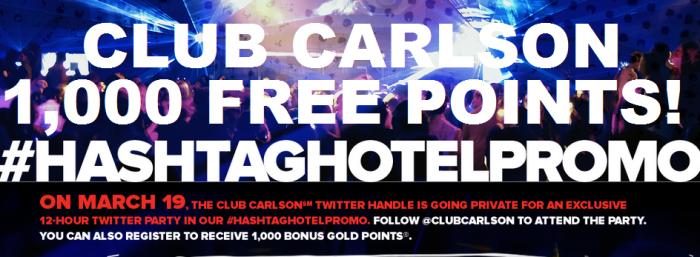 Club Carlson 1000 Free Points