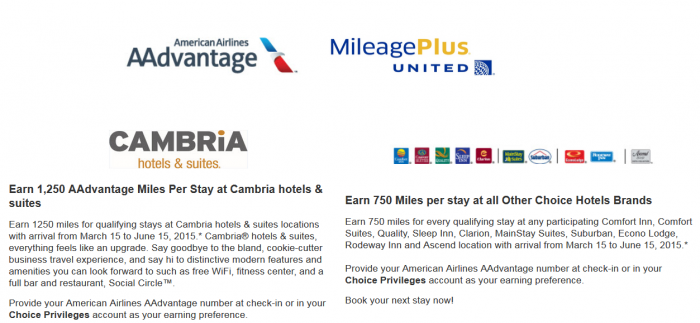 Choice Privileges American Airlines United Airlines Triple Quintuple Miles Offer March 15 June 15 2015