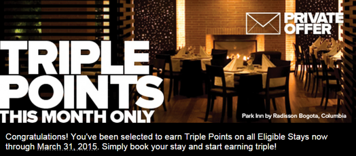 Club Carlson Triple Points Targeted Offer March 2015