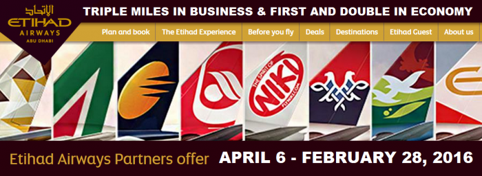 Etihad Airways Double Triple Miles April 4 - February 28 2016 Register By April 10