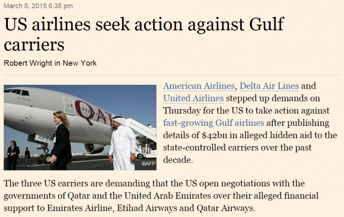 Financial Times US airlines seek action against Gulf carriers