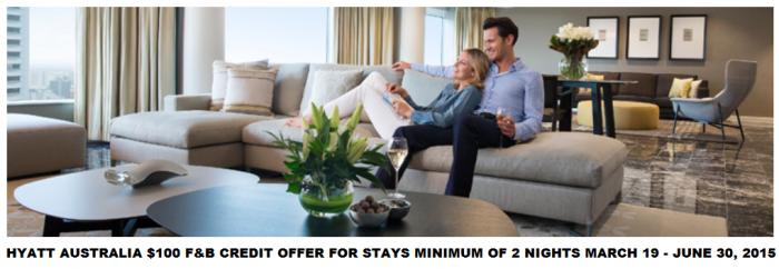 Hyatt Gold Passport Australia $100 F&B Offer March 19 June 30 2015