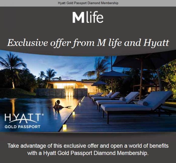 Hyatt Gold Passport Diamond Offer MGM Mlife Noir