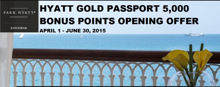 Hyatt Gold Passport Park Hyatt Zanzibar Opening Bonus Offer April 1 June 30 2015