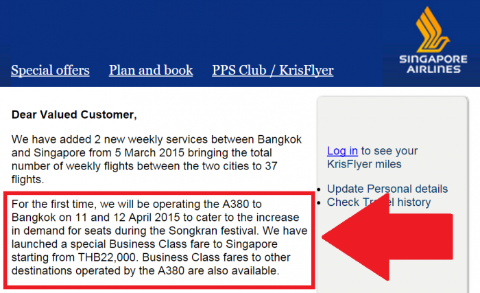 Singapore Airlines A380 Bangkok Email