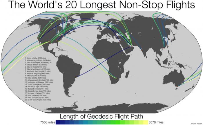 The Washington Post The world's longest non-stop flights, mapped