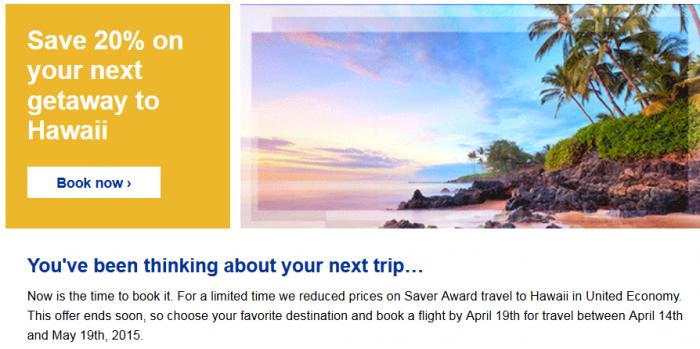 United Airlines Hawaii 20 Percent Award Discount April 14 - May 19 2015