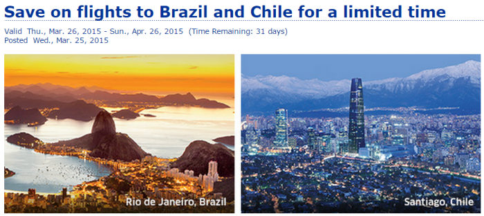 United Airlines MileagePlus Brazil & Chile 25 Percent Award Discount March 25 June 25 2015