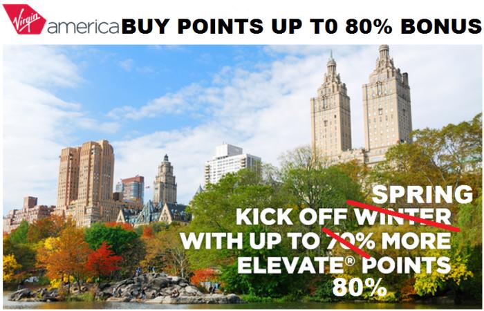 Virgin America Buy Elevate Points Up To 80 Percent Bonus Spring 2015
