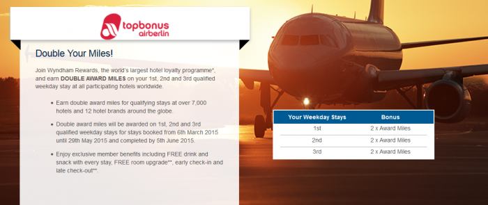 Wyndham Rewards Airberlin Double Miles March 6 April 29 2015