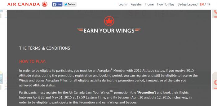 Air Canada Aeroplan Earn Your Wings