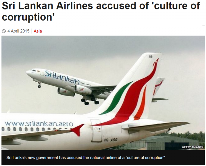 BBC Sri Lankan Airlines accused of 'culture of corruption'