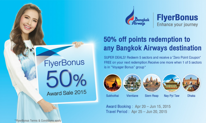 Bangkok Airways FlyerBonus Award Sale Spring 2015