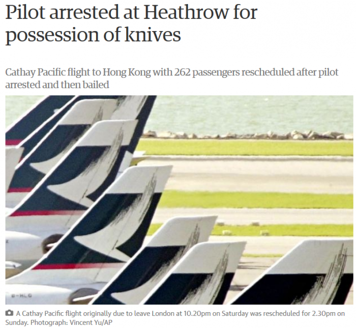 Cathay Pacific Pilot Arrest