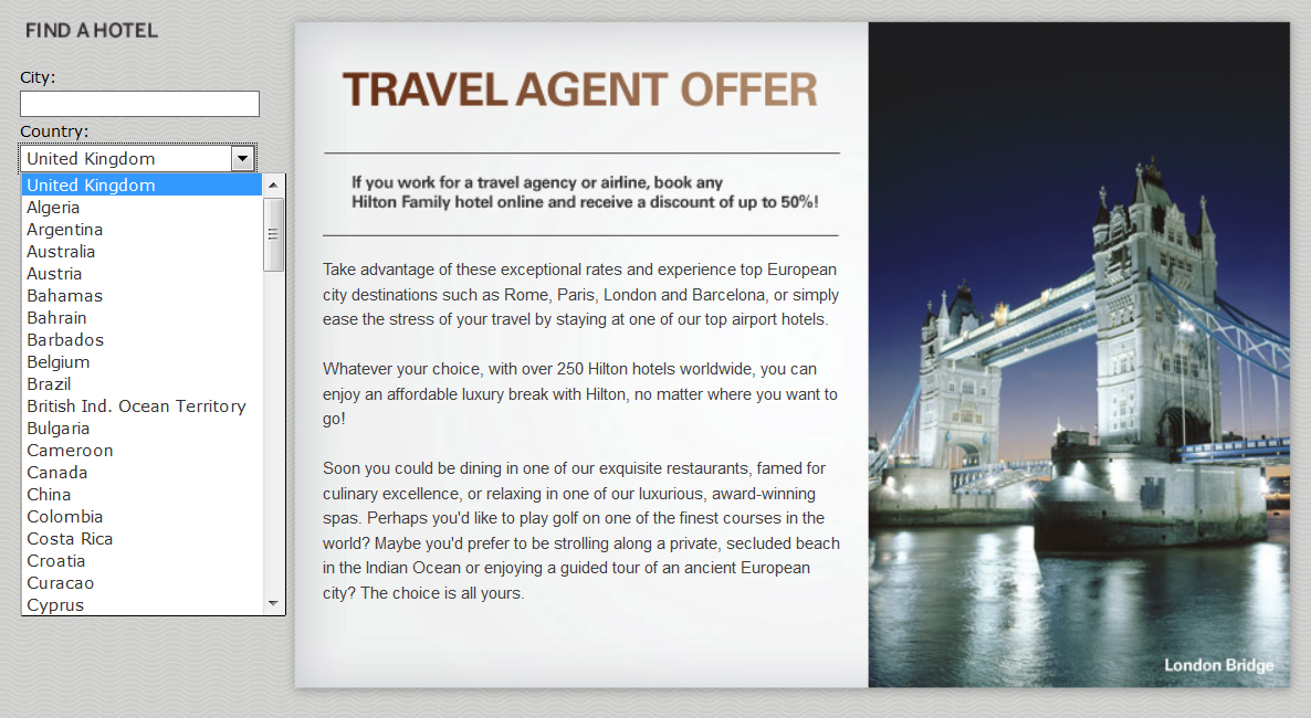 Travel agency offer hilton for Design hotel employee rate
