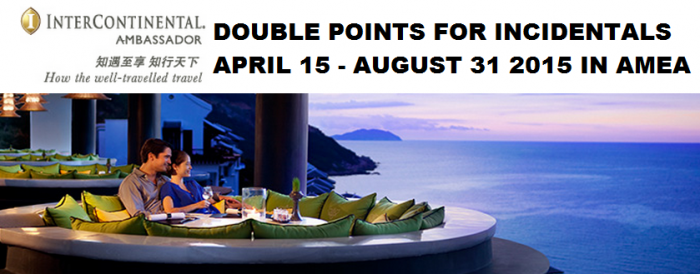 IHG Rewards Club Ambassador Double Points F&B April 15 August 31 2015