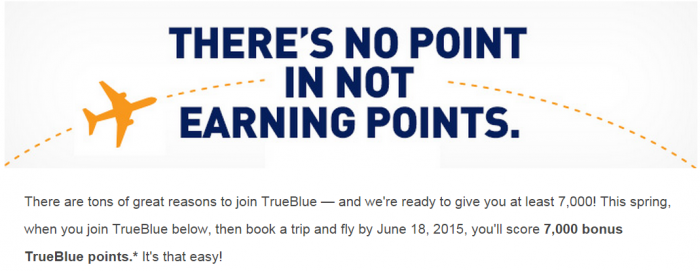 JetBlue TrueBlue 7000 Bonus Points Joining 2015