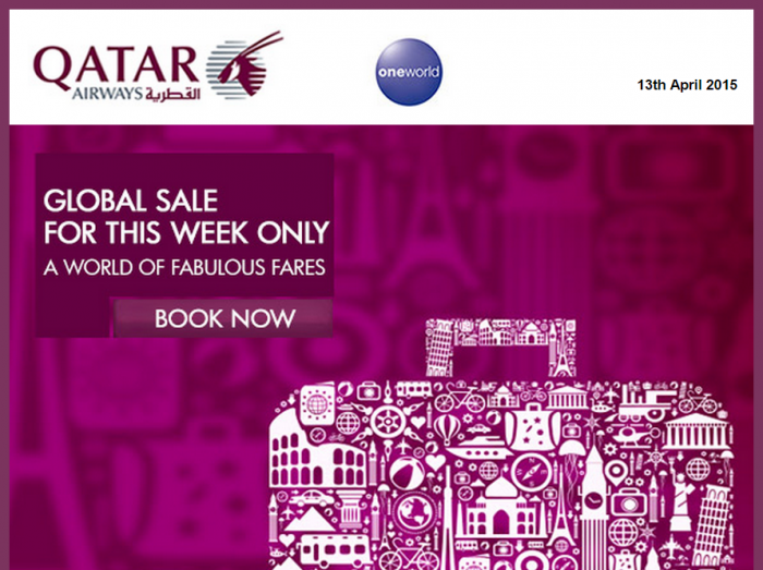 Qatar Airways April 2015 Global Sale