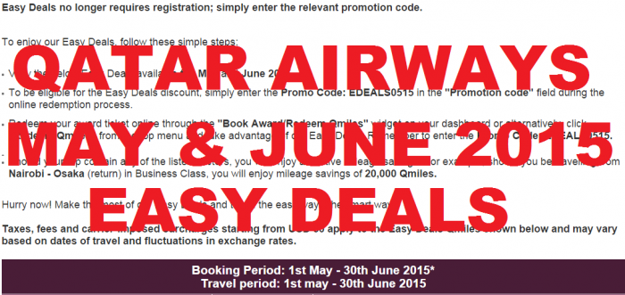 Qatar Airways Privilege Club May June 2015 Easy Deals