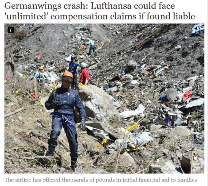 The Independent Germanwings crash Lufthansa could face 'unlimited' compensation claims if found liable