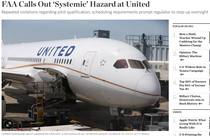 WSJ FAA Calls Out 'Systemic' Hazard at United