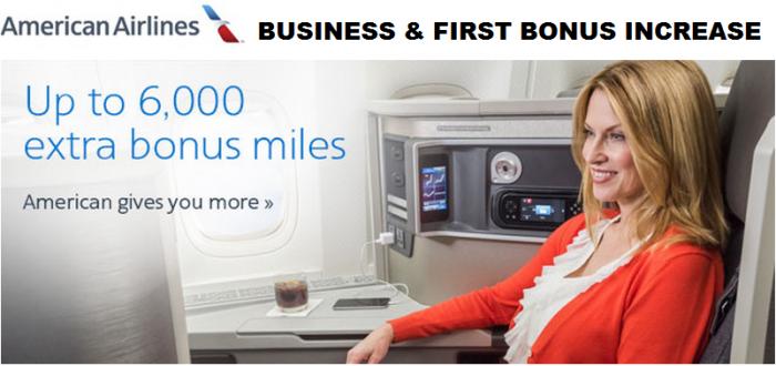 American Airlines AAdvantage Business & First Class Bonus Update