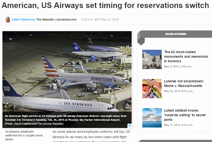 American Airlines Amp Us Airways Reservation System Switch