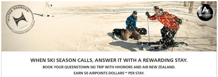 Hilton HHonors Air New Zealand Airpoints Queenstown Offer June 1 September 30 2015