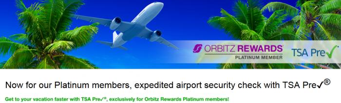 Orbitz Rewards Platinum Members TSA Pre
