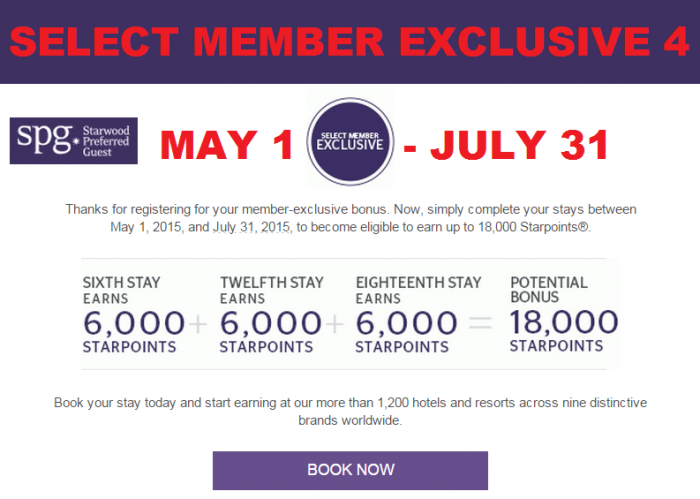 SPG Select Member Exclusive 4 May 1 July 31 2015