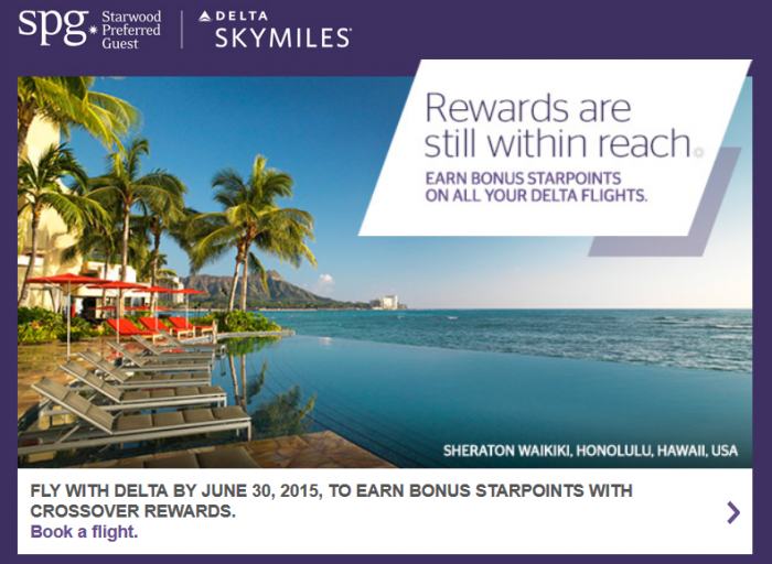 Starwood Preferred Guest SPG Delta Air Lines SkyMiles Crossover Rewards Promotion U
