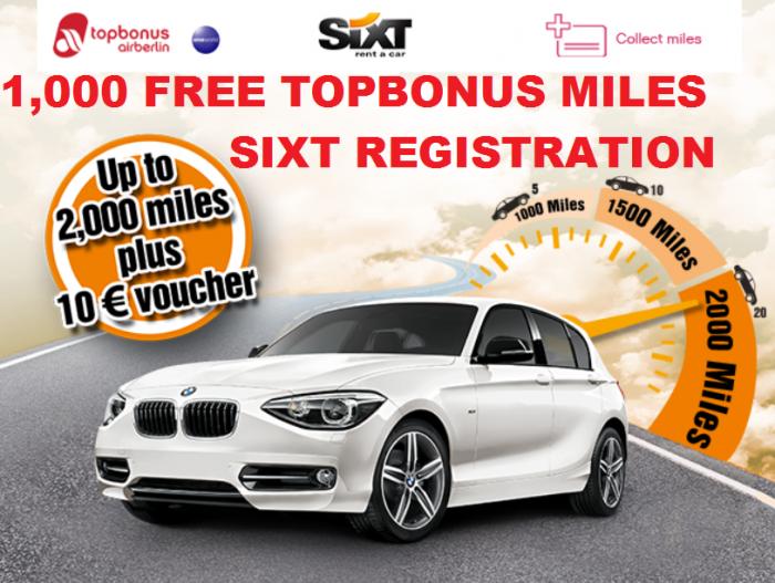 Airberlin Topbonus 1000 Free Miles Sixt
