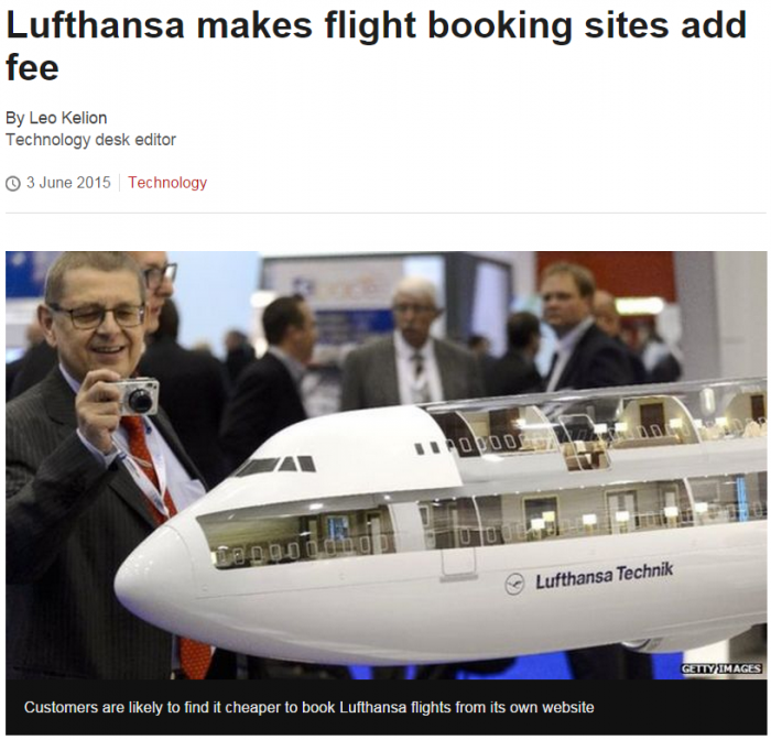 BBC Lufthansa makes flight booking sites add fee