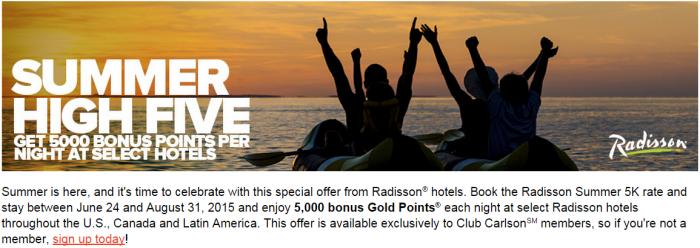 Club Carlson Radisson 5,000 Bonus Points Per Night June 24 August 31 2015